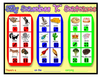"SILLY SENSELESS ""K"" SENTENCES- A BINGO DICE GAME for ""K"" Articulation Practice"