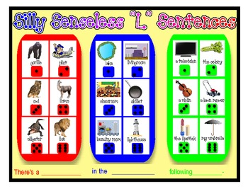 "SILLY SENSELESS ""L""  SENTENCES- A BINGO DICE GAME for ""L"" Articulation Practice"