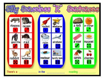 "SILLY SENSELESS ""R"" SENTENCES- A BINGO DICE GAME for ""R"" articulation practice"
