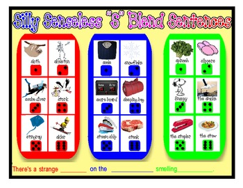 "SILLY SENSELESS ""S"" BLEND SENTENCES- A BINGO DICE GAME for ""S"" blend practice"