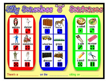 "SILLY SENSELESS ""S"" SENTENCES- A BINGO DICE GAME for ""S"" articulation practice"