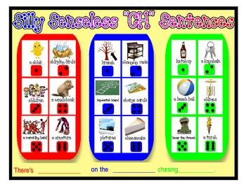 SILLY SENSELESS SENTENCES BUNDLE I for /SH/, /CH/ and /L/- A BINGO DICE GAME