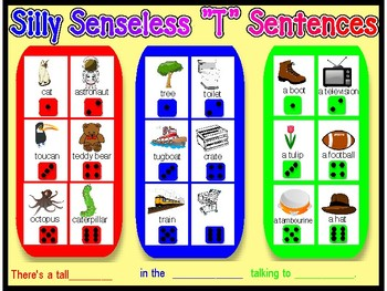 "SILLY SENSELESS ""T"" SENTENCES- A Dice Bingo Game- Speech Therapy"