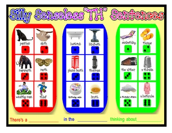 "SILLY SENSELESS ""TH"" SENTENCES- A BINGO DICE GAME for ""TH"" Articulation Practice"