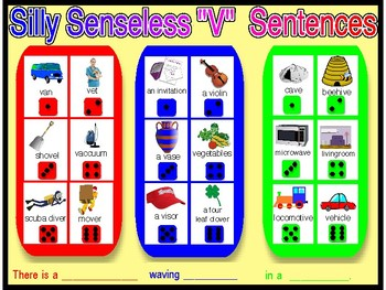 "SILLY SENSELESS ""V"" SENTENCES- A Dice Bingo Game- Speech Therapy"
