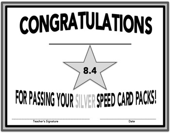 SILVER Time Certificates for SpellREAD Speed Cards