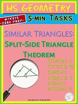 SIMILARITY: Split-side Triangles  (Geometry Curriculum Warm-Ups - Unit 13.2)