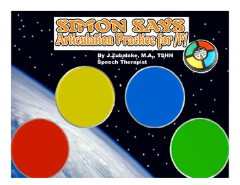 SIMON SAYS Articulation Game for /F/ Practice- Speech Therapy