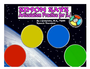 SIMON SAYS Articulation Game for /L/ Practice- Speech Therapy