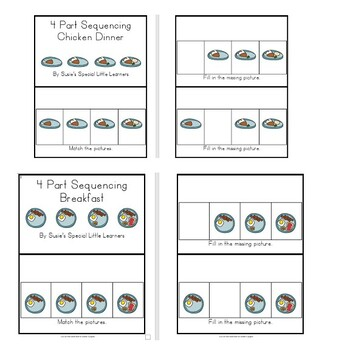 SIMPLE 4 PART SEQUENCING INTERACTIVE BOOKS FOR AUTISM AND SPECIAL EDUCATION