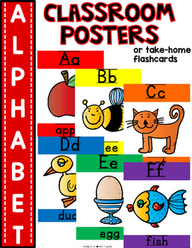 SIMPLE & CLEAN: Match Any THEME!~Alphabet Posters or Take Home Flashcards