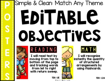 SIMPLE & CLEAN: Match Any THEME!~Learning Objective Posters {B&W}