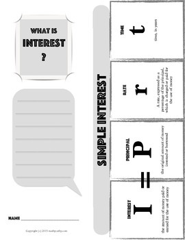 SIMPLE INTEREST Financial Literacy Foldable Note-Taking Gu