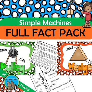 SIMPLE MACHINES FACT PACK Reading Text Writing Flip Book Games Cards