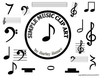 'UPDATED' SIMPLE MUSIC CLIP ART!!!  GREAT FOR MAKING OWN MUSIC PROJECTS!