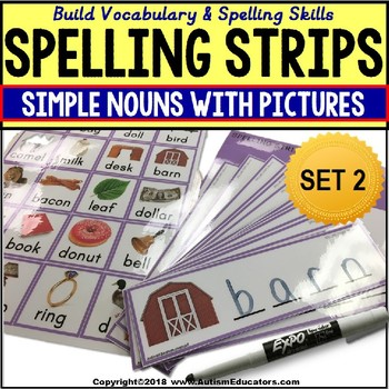 SIMPLE NOUNS Spelling Vocabulary Fine Motor Strips SPECIAL EDUCATION RESOURCE