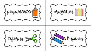 Simple black & white Spanish supply labels