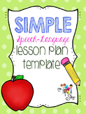SIMPLE Speech-Language Lesson Plan Template