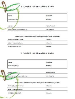 SIMPLE Student Info Card