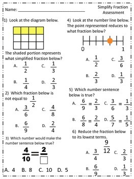 SIMPLIFY FRACTIONS 10 Question Assessment for Gradecam