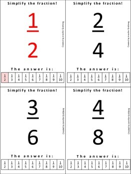 SIMPLIFY THE FRACTION: Flashcards for Independent Study