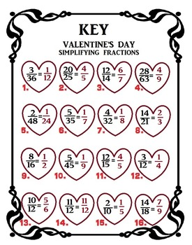 SIMPLIFYING FRACTIONS - VALENTINES!