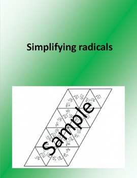 SIMPLIFYING RADICALS 1 - Math puzzle
