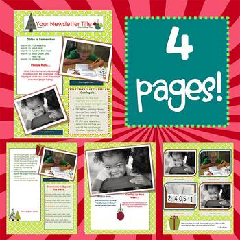 Simply Christmas New Format Newsletter Template Word Tpt
