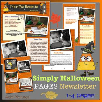 simply halloween new format newsletter template word tpt