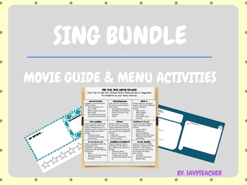 SING Movie Guide and Extension Activity Templates Bundle