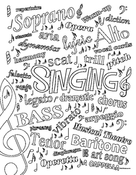 SINGING Colour page with Definitions