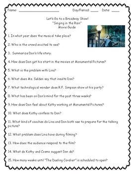 SINGIN' IN THE RAIN MOVIE GUIDE