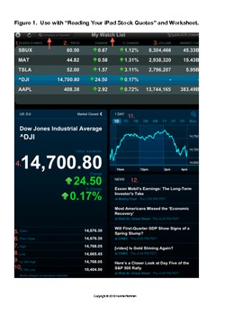 """SINGLE LESSON FROM MY POPULAR """"USING iPADS FOR THE STOCK MARKET"""" UNIT.  TRY IT!"""