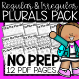 Regular and Irregular Plural Nouns Bundle (((12 PAGES)))