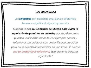 SINÓNIMOS Y ANTÓNIMOS STUDY GUIDE IN SPANISH
