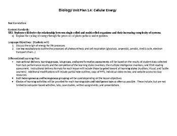 SIOP & Differentiated Biology Unit/Daily Lesson Plan 1.4: Cell Energy
