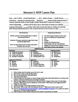 SIOP Lesson Plan Healthy And Unhealthy Foods