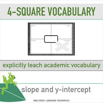 ELL/ESL Math:4-Square Math Vocabulary-Slope and y-intercept