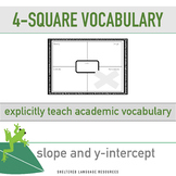 ELL/ESL Math:4-Square Math Vocabulary-Slope and y-intercept
