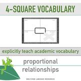 ELL/ESL Math:4 Square Vocabulary-Proportional Relationship