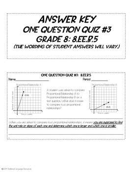 One Question Quizzes: Analyze and Compare Proportional Relationships