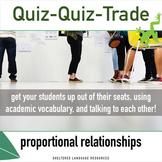 ELL/ESL Math:Quiz-Quiz-Trade-Identify Proportional Relationships