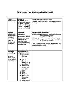 SIOP lesson plan for Healthy/Unhealty snacks