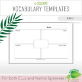 FREE! ELL/ESL 4-Square Vocabulary Templates:Explicitly Tea