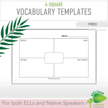 FREE! ELL/ESL 4-Square Vocabulary Templates:Explicitly Teach Academic Vocabulary