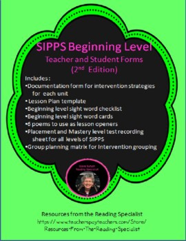SIPPS Beginning Teacher and Student Forms and More