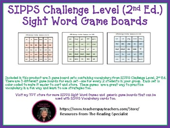 SIPPS Challenge Level Sight Word Game Boards (2nd Ed.)