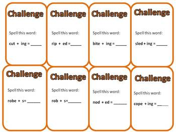 "SIPPS Extension or SIPPS Plus  ""Challenge Me!"" CVC and CVCe + suffixes card game"