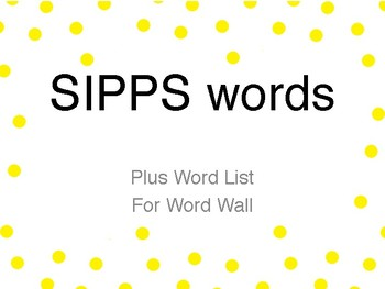 SIPPS PLUS words
