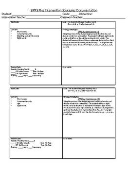 SIPPS Plus Teacher Forms and More 2
